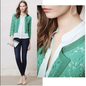 Anthropologie Elevenses green lace jacket sz M